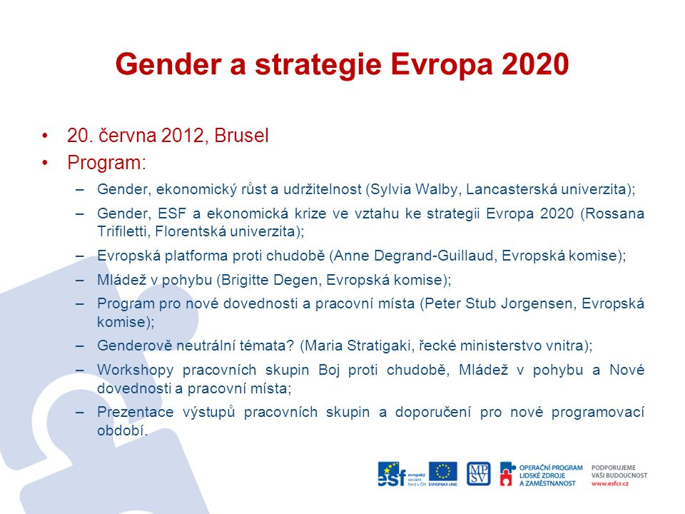 Gender a strategie Evropa 2020 20.