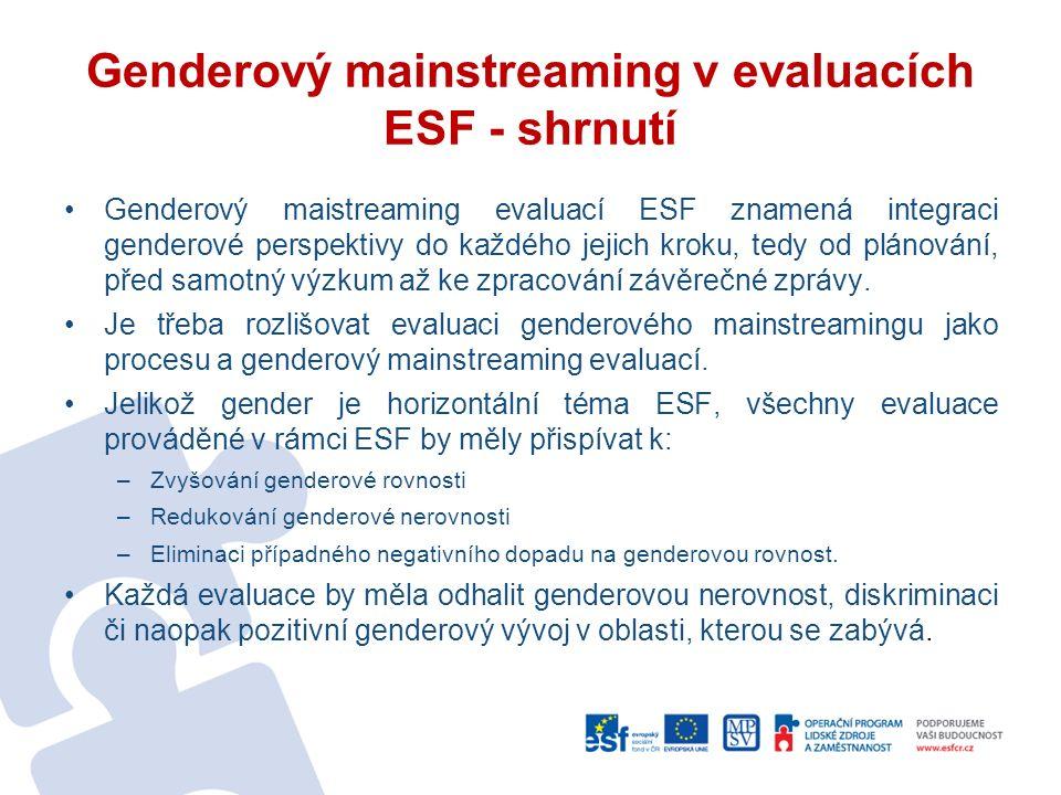 Genderový mainstreaming v evaluacích ESF - shrnutí Genderový maistreaming evaluací ESF znamená integraci genderové perspektivy do každého jejich kroku, tedy od plánování, před samotný výzkum až ke zpracování závěrečné zprávy.