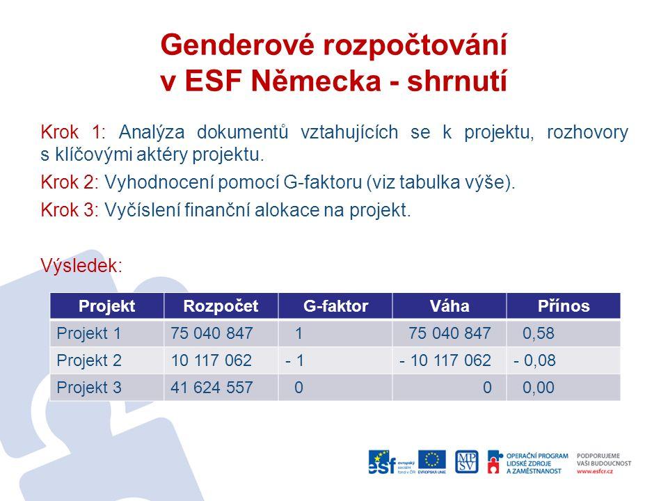 Genderové rozpočtování v ESF Německa - shrnutí Krok 1: Analýza dokumentů vztahujících se k projektu, rozhovory s klíčovými aktéry projektu.