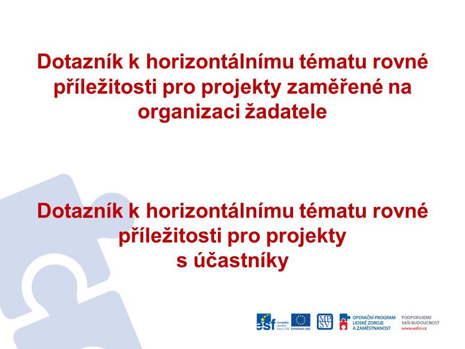 Dotazník k horizontálnímu tématu rovné příležitosti pro projekty zaměřené na organizaci žadatele Dotazník k horizontálnímu tématu rovné příležitosti pro projekty s účastníky