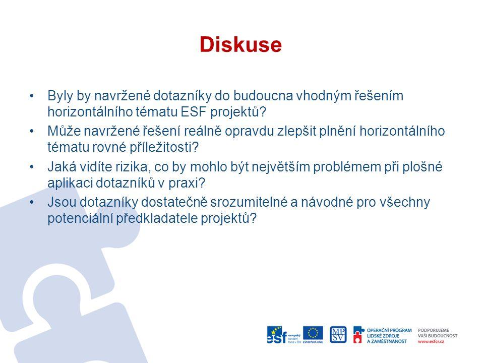 Diskuse Byly by navržené dotazníky do budoucna vhodným řešením horizontálního tématu ESF projektů.