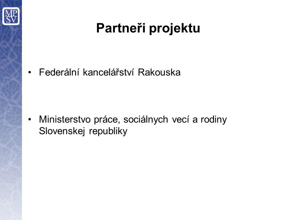 Partneři projektu Federální kancelářství Rakouska Ministerstvo práce, sociálnych vecí a rodiny Slovenskej republiky