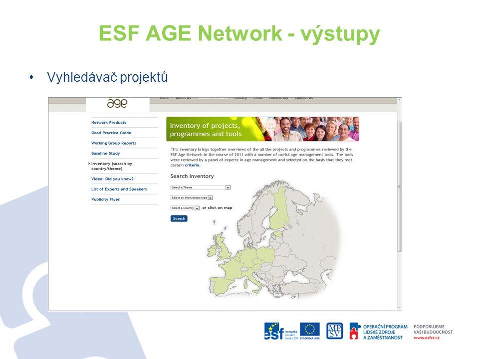 ESF AGE Network - výstupy Vyhledávač projektů