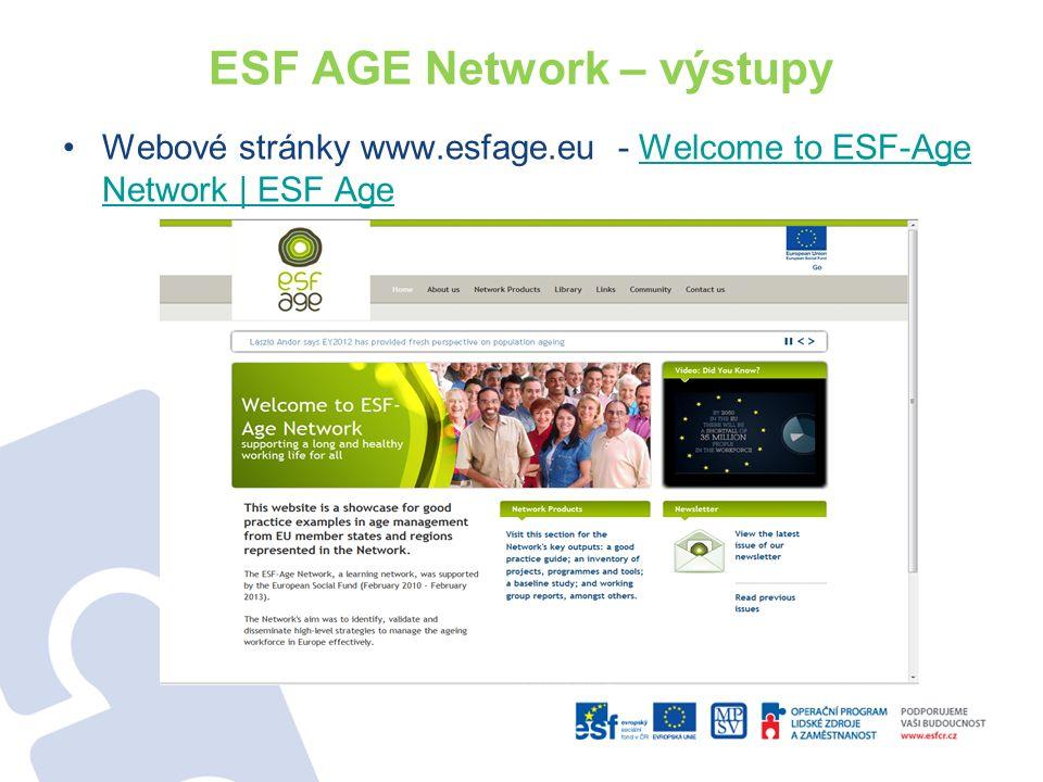 ESF AGE Network – výstupy Webové stránky www.esfage.eu - Welcome to ESF-Age Network | ESF AgeWelcome to ESF-Age Network | ESF Age