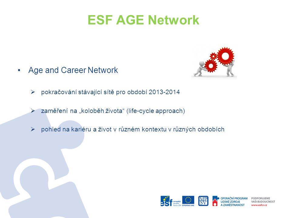 """ESF AGE Network Age and Career Network  pokračování stávající sítě pro období 2013-2014  zaměření na """"koloběh života (life-cycle approach)  pohled na kariéru a život v různém kontextu v různých obdobích"""