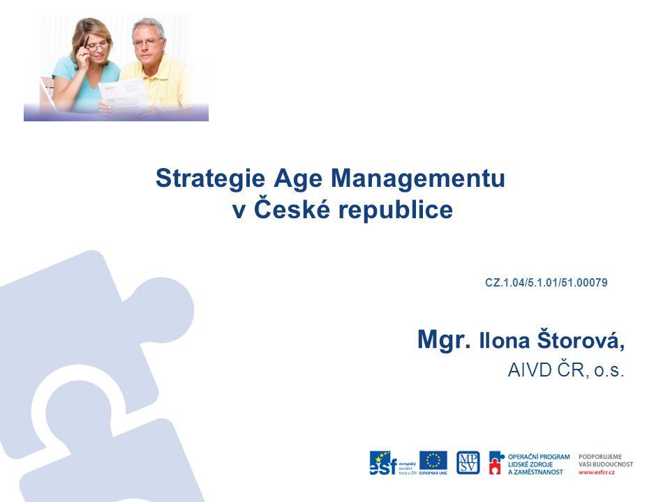 Strategie Age Managementu v České republice Mgr.Ilona Štorová, AIVD ČR, o.s.