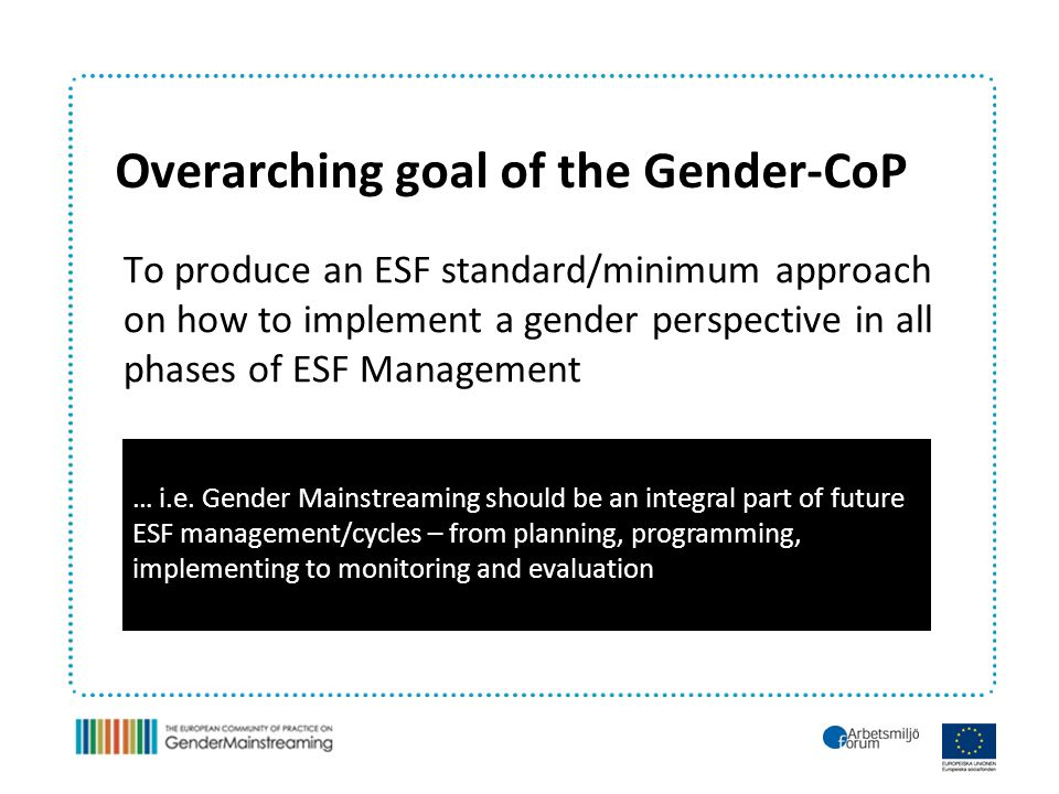 Overarching goal of the Gender-CoP To produce an ESF standard/minimum approach on how to implement a gender perspective in all phases of ESF Management … i.e.