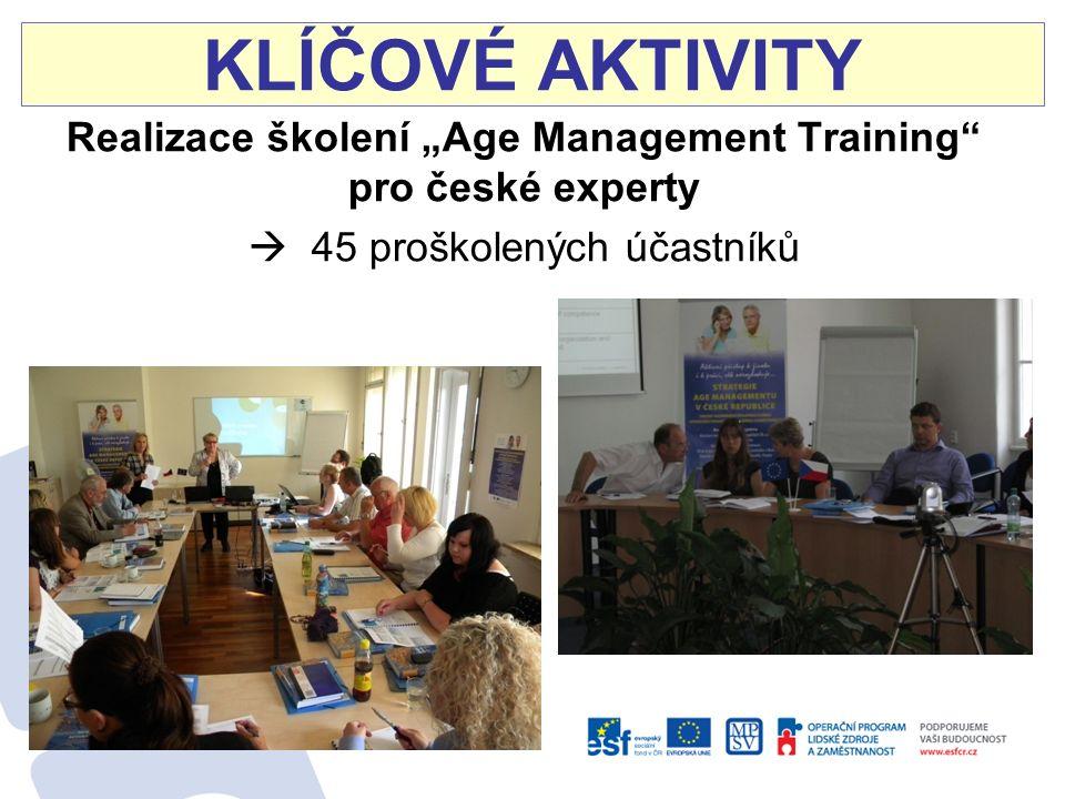 """KLÍČOVÉ AKTIVITY Realizace školení """"Age Management Training pro české experty  45 proškolených účastníků"""