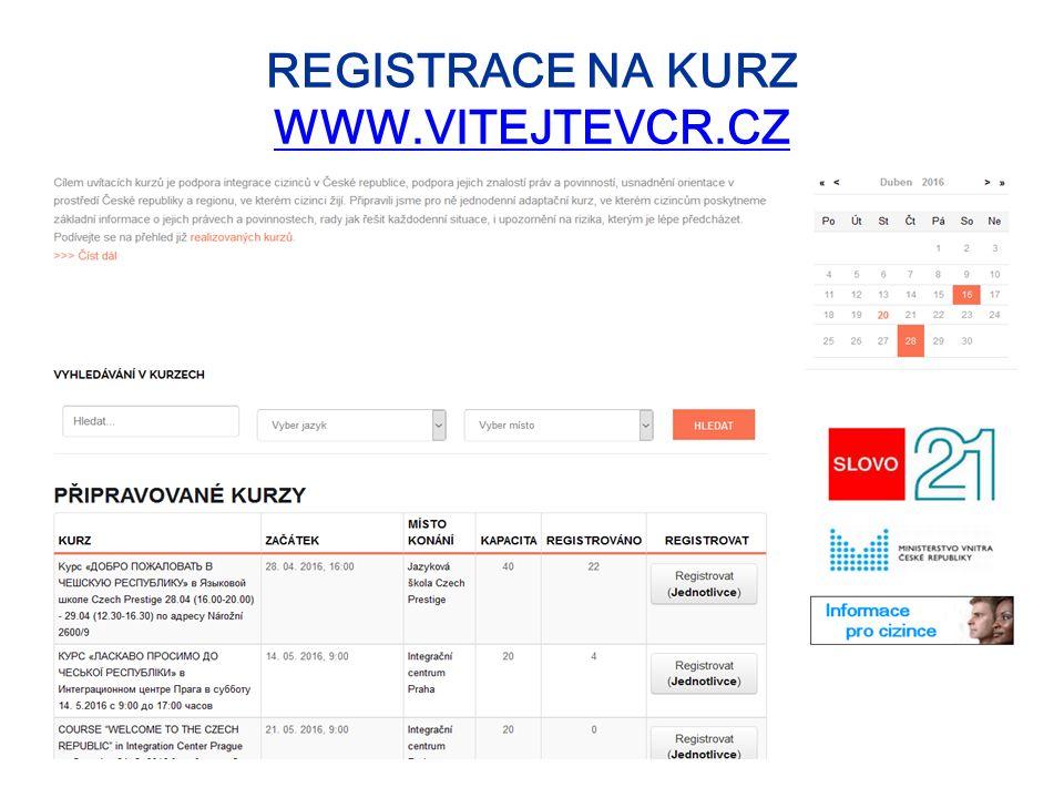 REGISTRACE NA KURZ WWW.VITEJTEVCR.CZ WWW.VITEJTEVCR.CZ