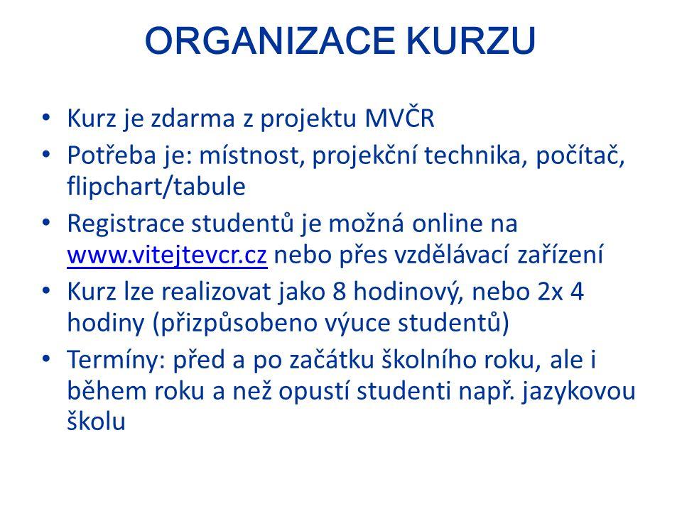 ORGANIZACE KURZU Kurz je zdarma z projektu MVČR Potřeba je: místnost, projekční technika, počítač, flipchart/tabule Registrace studentů je možná online na www.vitejtevcr.cz nebo přes vzdělávací zařízení www.vitejtevcr.cz Kurz lze realizovat jako 8 hodinový, nebo 2x 4 hodiny (přizpůsobeno výuce studentů) Termíny: před a po začátku školního roku, ale i během roku a než opustí studenti např.