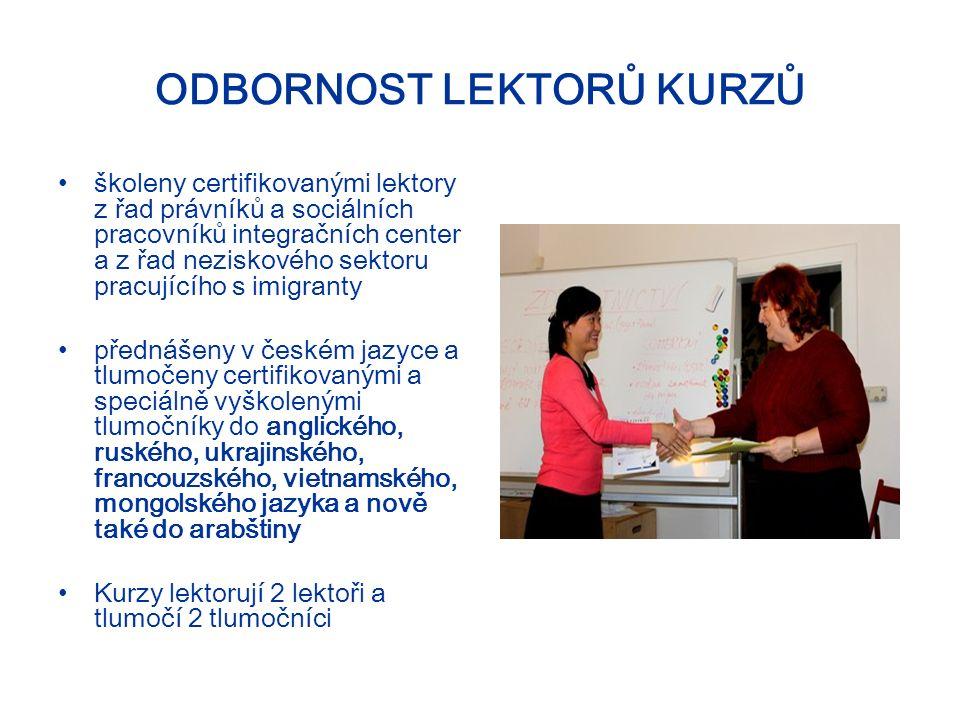 ODBORNOST LEKTORŮ KURZŮ školeny certifikovanými lektory z řad právníků a sociálních pracovníků integračních center a z řad neziskového sektoru pracujícího s imigranty přednášeny v českém jazyce a tlumočeny certifikovanými a speciálně vyškolenými tlumočníky do anglického, ruského, ukrajinského, francouzského, vietnamského, mongolského jazyka a nově také do arabštiny Kurzy lektorují 2 lektoři a tlumočí 2 tlumočníci