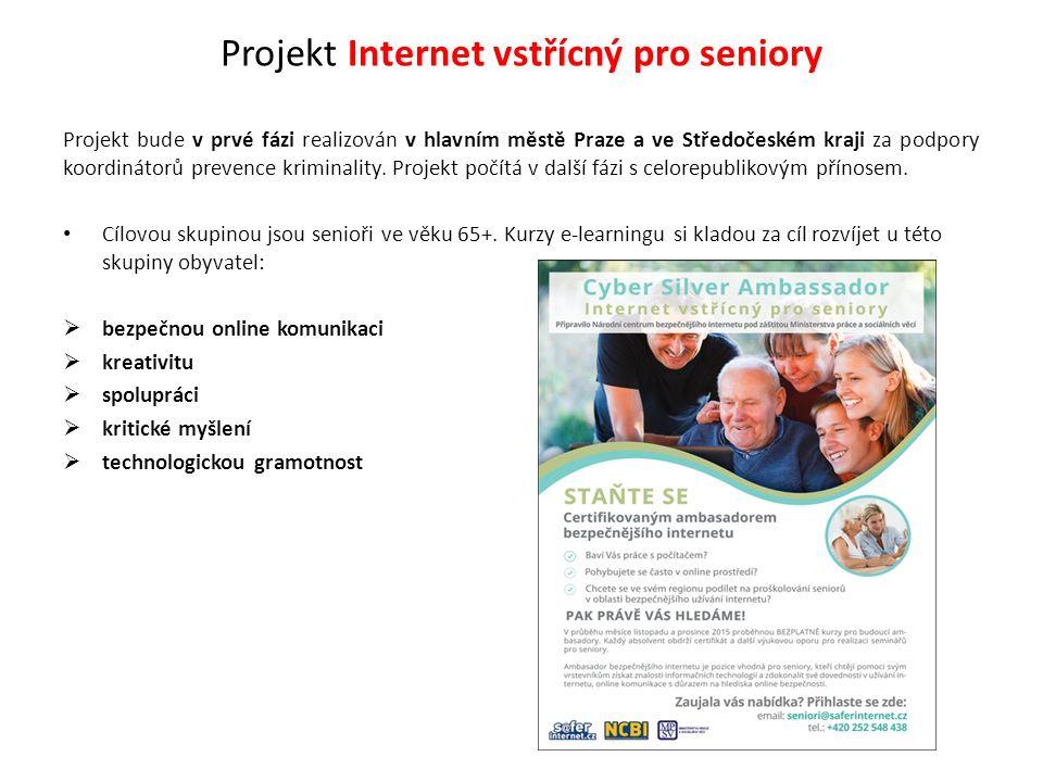 Projekt Internet vstřícný pro seniory Výstupem projektu bude vytvoření internetových stránek pro seniory, vytvoření e- learningových kurzů pro seniory, které budou volně přístupné na těchto stránkách a pomoc seniorům v oblasti nezákonného a závadového chování na internetu linkou Online Hotline a Online Helpline.