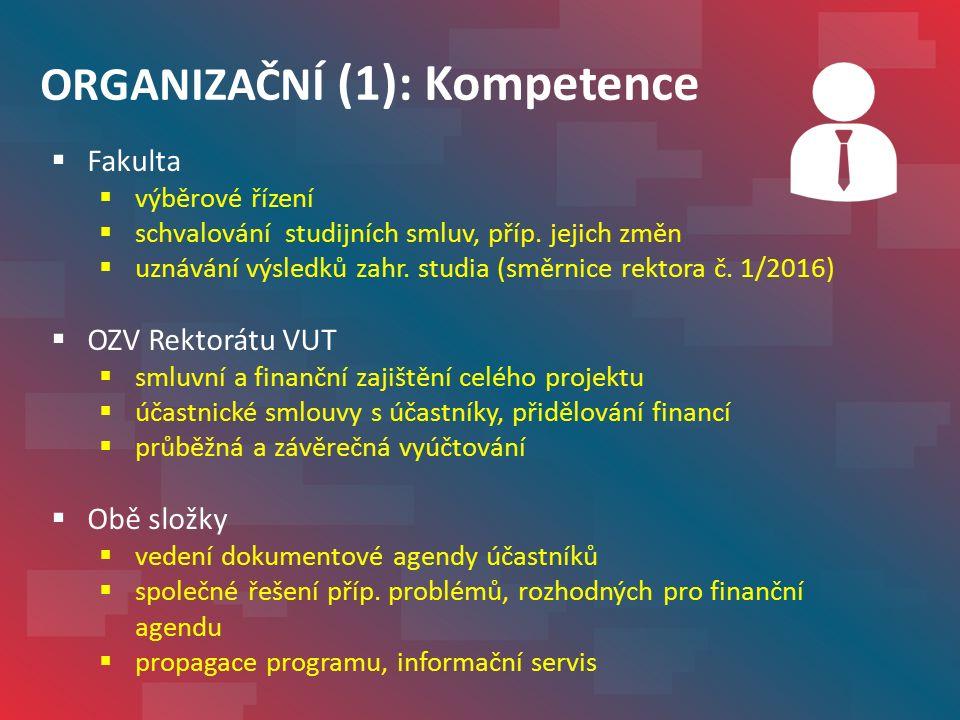 ORGANIZAČNÍ (1): Kompetence  Fakulta  výběrové řízení  schvalování studijních smluv, příp.