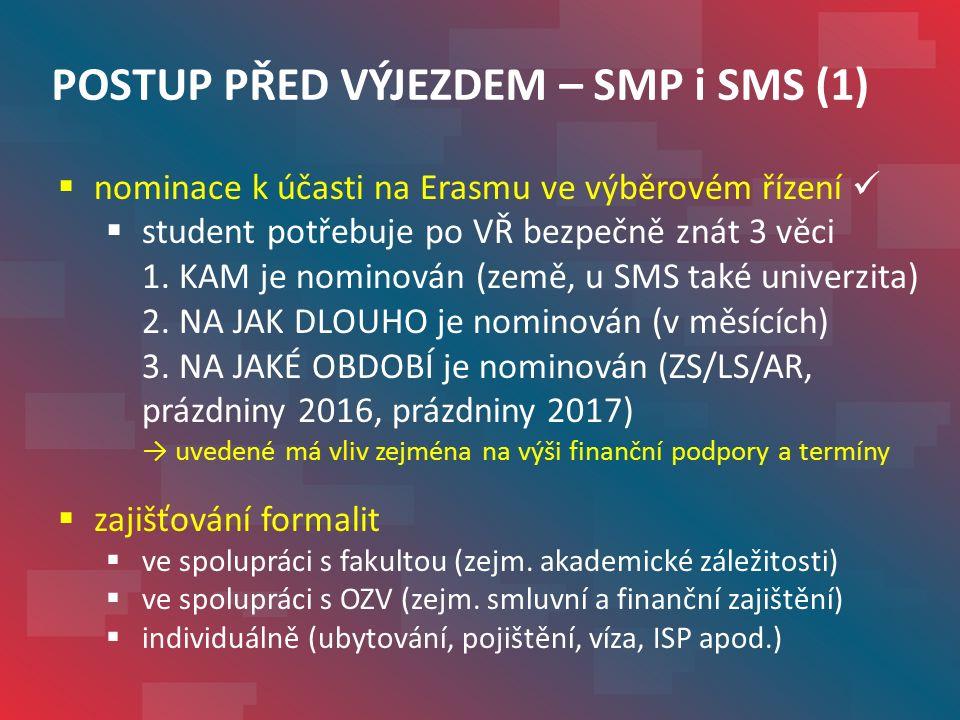 POSTUP PŘED VÝJEZDEM – SMS (2)  podání přihlášky hostující univerzitě  potřeba zjistit termín  formulář VUT nebo zahraniční, příp.