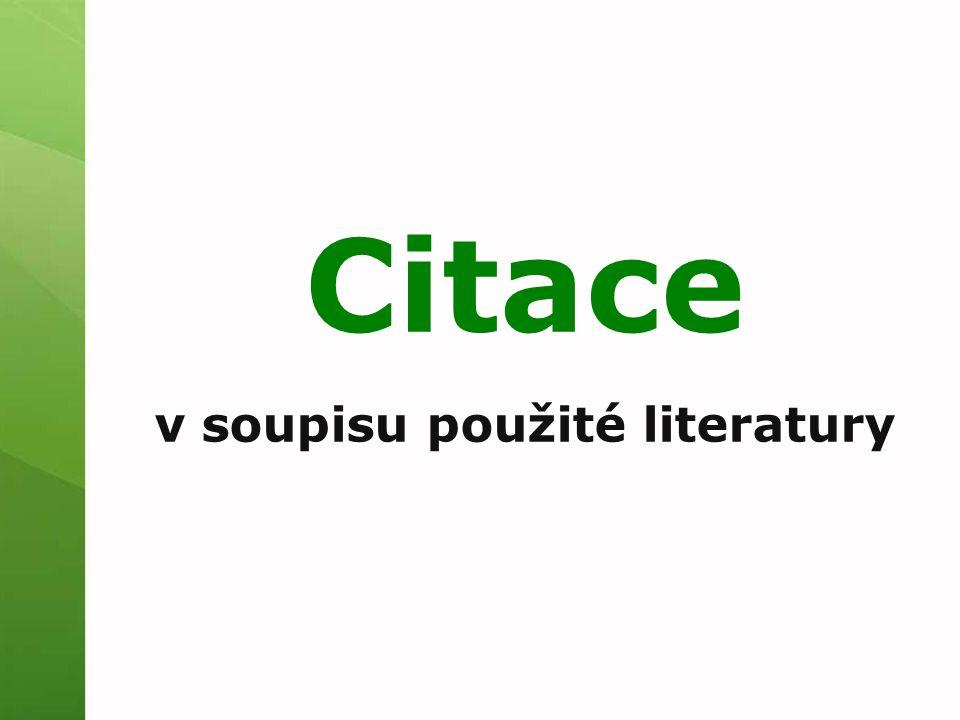 Citace v soupisu použité literatury