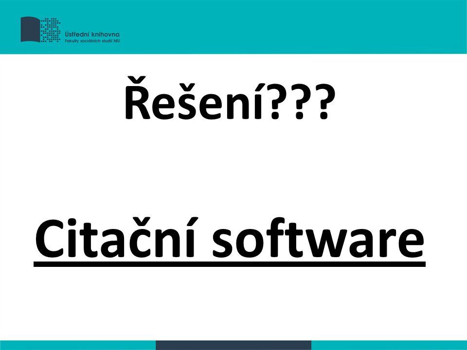 Řešení Citační software
