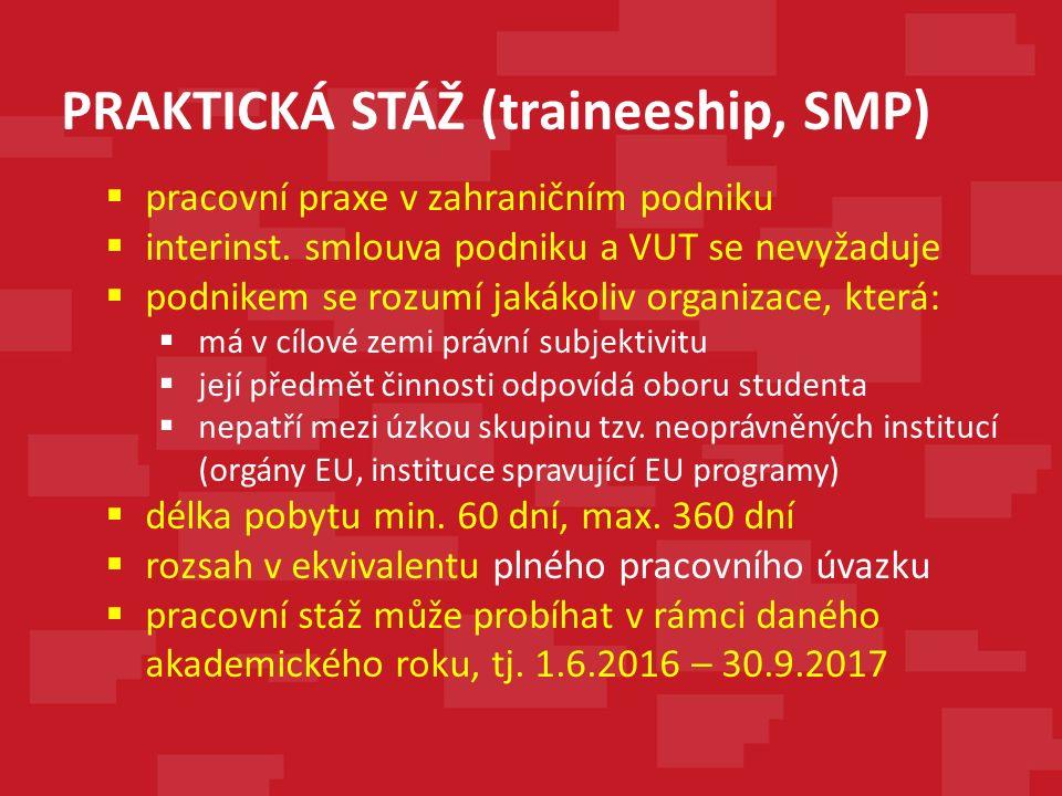 PRAKTICKÁ STÁŽ (traineeship, SMP)  pracovní praxe v zahraničním podniku  interinst.