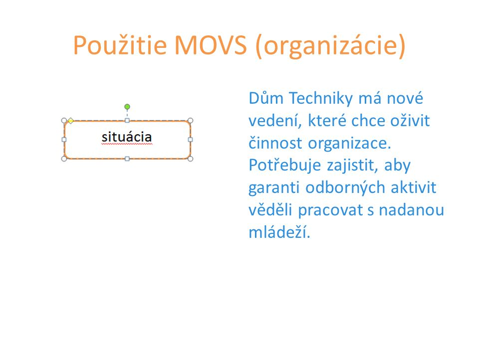 Použitie MOVS (organizácie) Dům Techniky má nové vedení, které chce oživit činnost organizace.