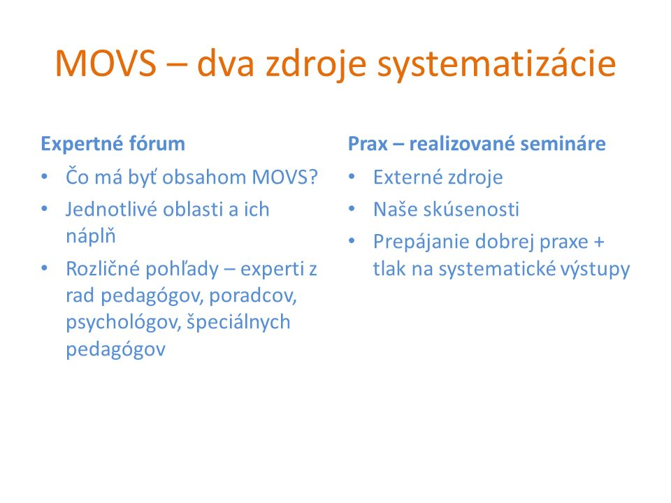 Použitie MOVS (organizácie) vyhodnotenie identifikované potřeby organizace návrh skladby modulů pro jednotlivé prvky dané organizace Potřeba rozšíření kompetence efektivně sdílet odbornost se skupinou NŽ.