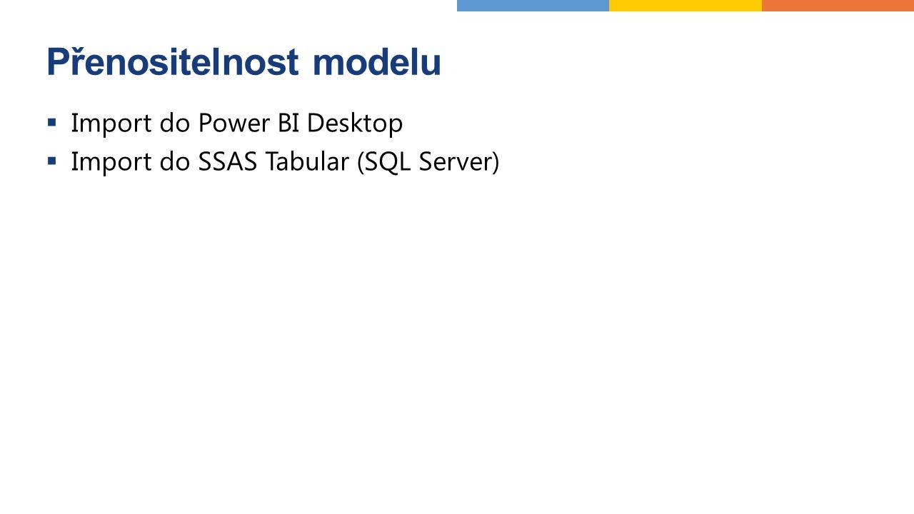 Přenositelnost modelu  Import do Power BI Desktop  Import do SSAS Tabular (SQL Server)