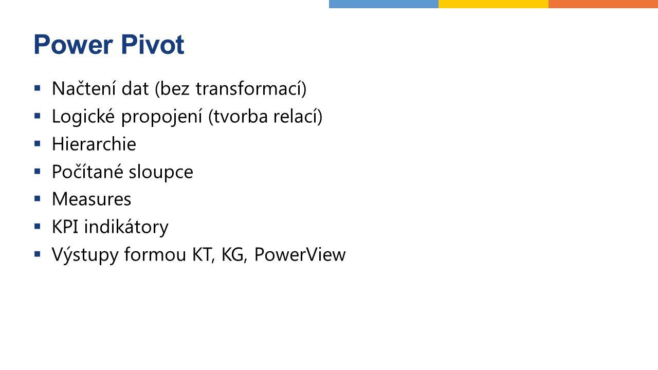Power Pivot  Načtení dat (bez transformací)  Logické propojení (tvorba relací)  Hierarchie  Počítané sloupce  Measures  KPI indikátory  Výstupy formou KT, KG, PowerView