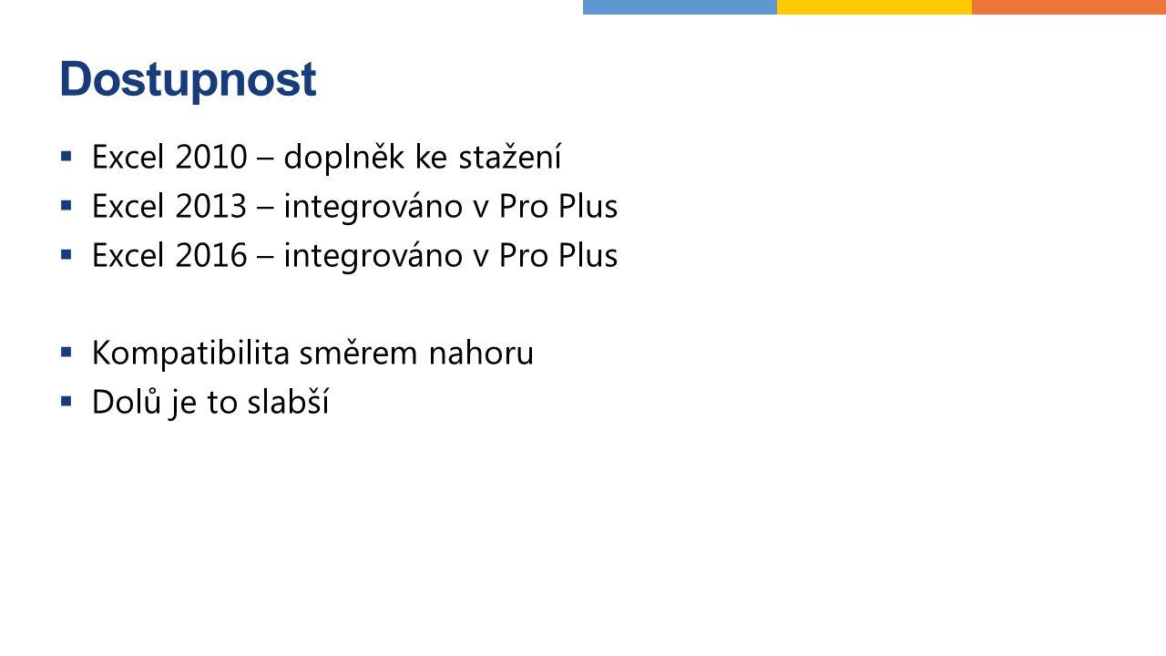 Dostupnost  Excel 2010 – doplněk ke stažení  Excel 2013 – integrováno v Pro Plus  Excel 2016 – integrováno v Pro Plus  Kompatibilita směrem nahoru  Dolů je to slabší