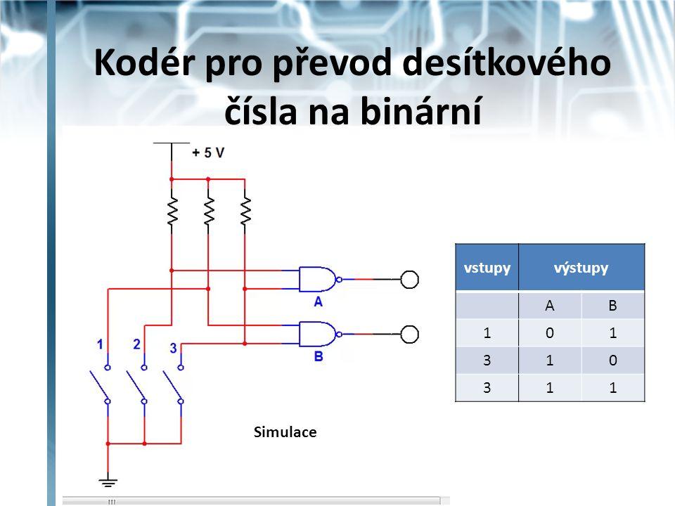 Kodér pro převod desítkového čísla na binární vstupyvýstupy AB 101 310 311 Simulace