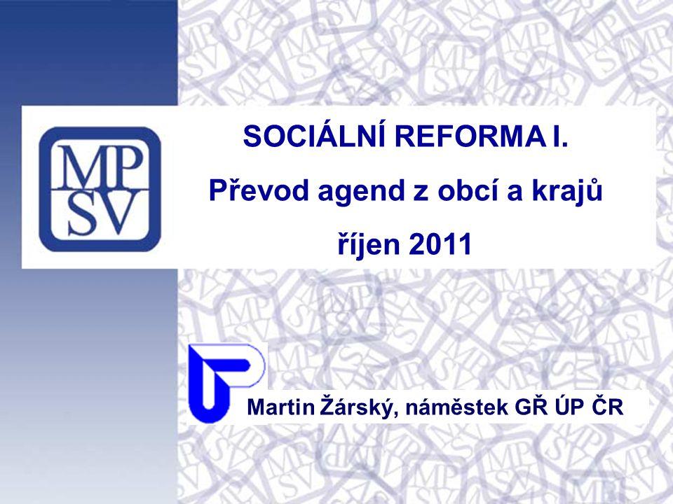 SOCIÁLNÍ REFORMA I. Převod agend z obcí a krajů říjen 2011 Martin Žárský, náměstek GŘ ÚP ČR