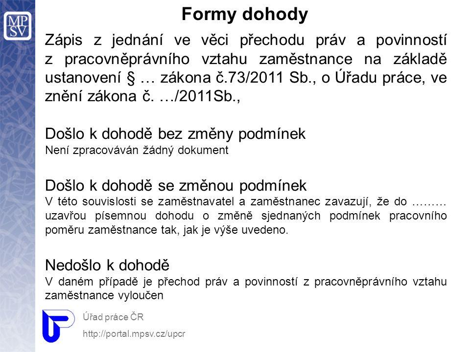 Formy dohody Úřad práce ČR http://portal.mpsv.cz/upcr Zápis z jednání ve věci přechodu práv a povinností z pracovněprávního vztahu zaměstnance na zákl