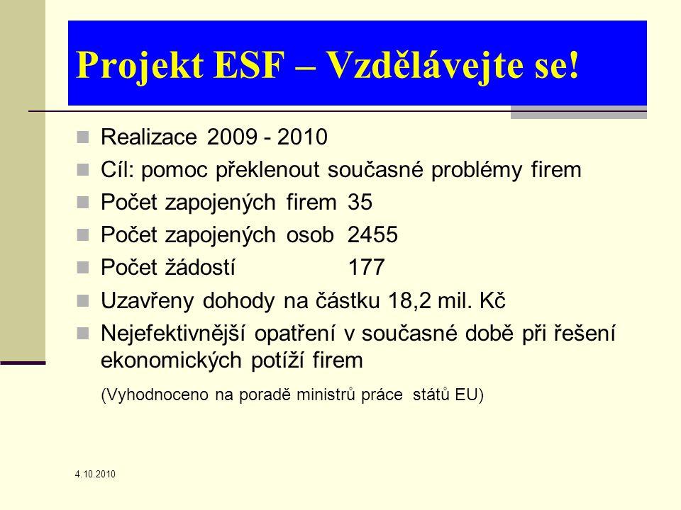 4.10.2010 Projekt ESF – Vzdělávejte se.