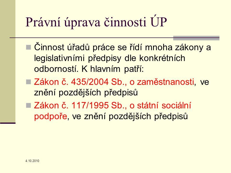 4.10.2010 Právní úprava činnosti ÚP Činnost úřadů práce se řídí mnoha zákony a legislativními předpisy dle konkrétních odborností.