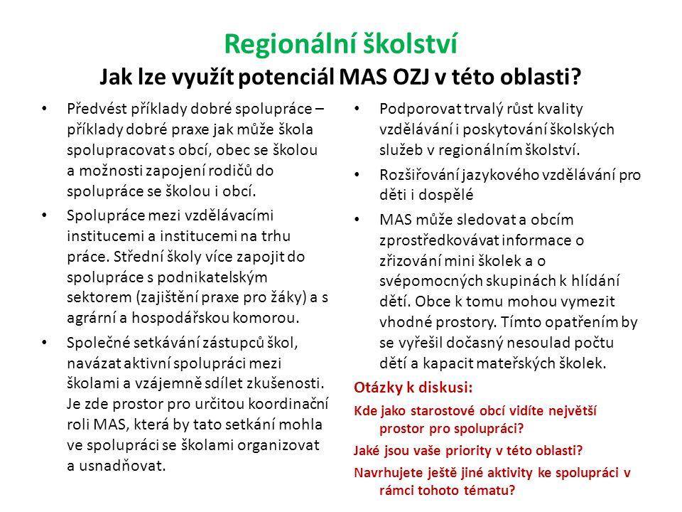 Regionální školství Jak lze využít potenciál MAS OZJ v této oblasti.