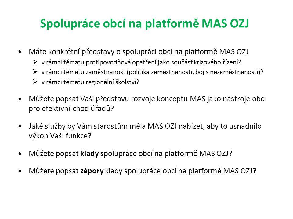 Spolupráce obcí na platformě MAS OZJ Máte konkrétní představy o spolupráci obcí na platformě MAS OZJ  v rámci tématu protipovodňová opatření jako součást krizového řízení.