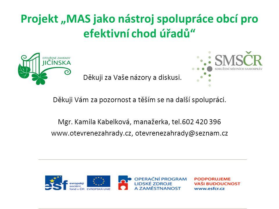 """Projekt """"MAS jako nástroj spolupráce obcí pro efektivní chod úřadů Děkuji za Vaše názory a diskusi."""