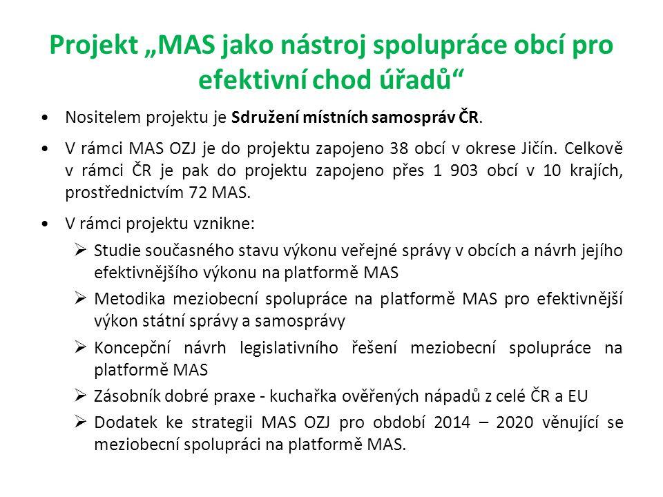 """Projekt """"MAS jako nástroj spolupráce obcí pro efektivní chod úřadů Nositelem projektu je Sdružení místních samospráv ČR."""