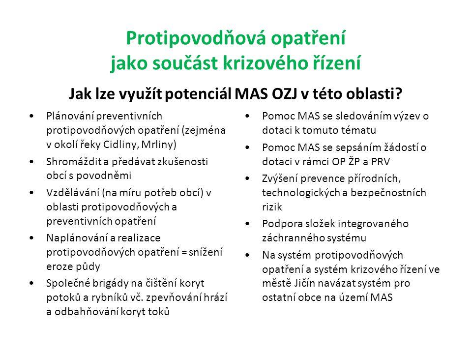 Protipovodňová opatření jako součást krizového řízení Jak lze využít potenciál MAS OZJ v této oblasti.