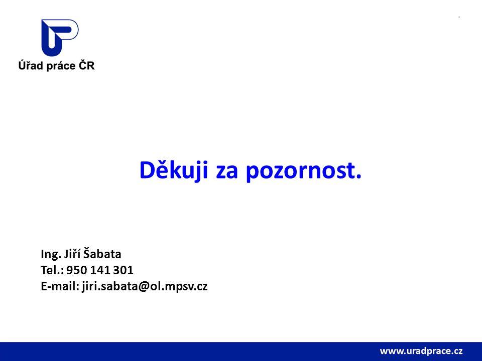 . Děkuji za pozornost. Ing. Jiří Šabata Tel.: 950 141 301 E-mail: jiri.sabata@ol.mpsv.cz