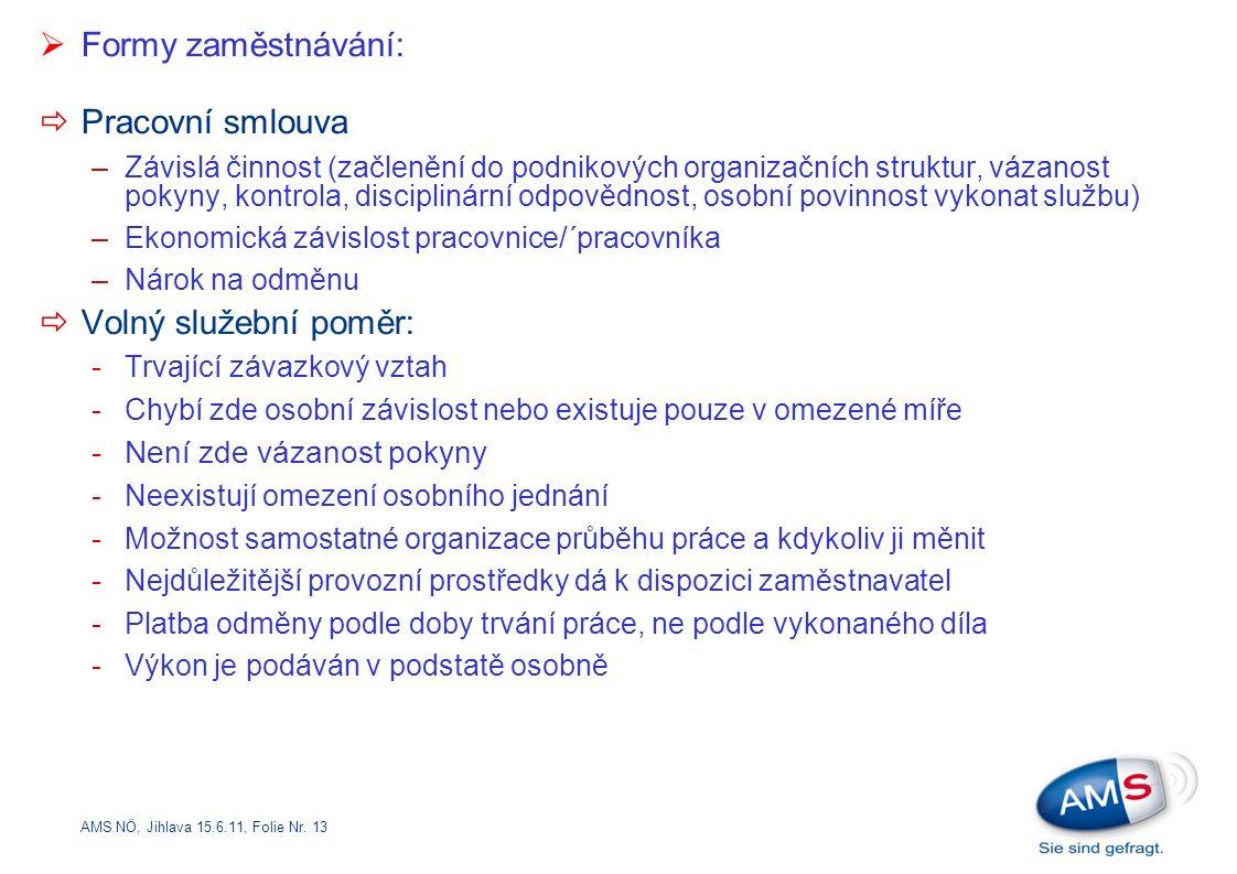 AMS NÖ, Jihlava 15.6.11, Folie Nr. 13  Formy zaměstnávání:  Pracovní smlouva –Závislá činnost (začlenění do podnikových organizačních struktur, váza