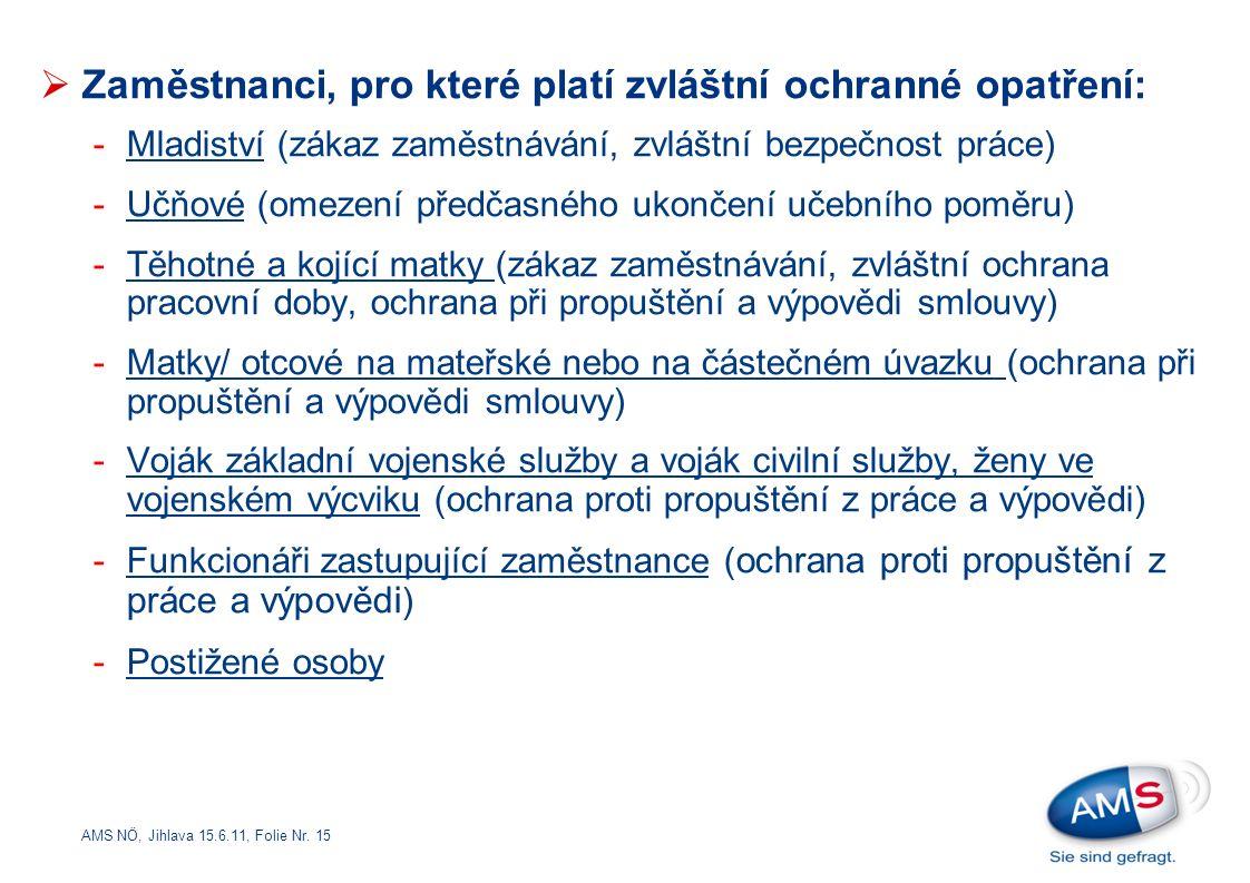AMS NÖ, Jihlava 15.6.11, Folie Nr. 15  Zaměstnanci, pro které platí zvláštní ochranné opatření: -Mladiství (zákaz zaměstnávání, zvláštní bezpečnost p