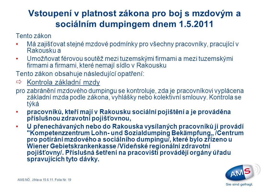 AMS NÖ, Jihlava 15.6.11, Folie Nr. 19 Tento zákon Má zajišťovat stejné mzdové podmínky pro všechny pracovníky, pracující v Rakousku a Umožňovat férovo