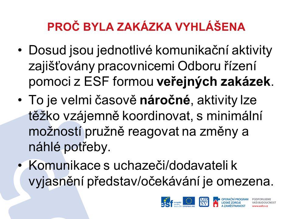 PROČ BYLA ZAKÁZKA VYHLÁŠENA Dosud jsou jednotlivé komunikační aktivity zajišťovány pracovnicemi Odboru řízení pomoci z ESF formou veřejných zakázek.