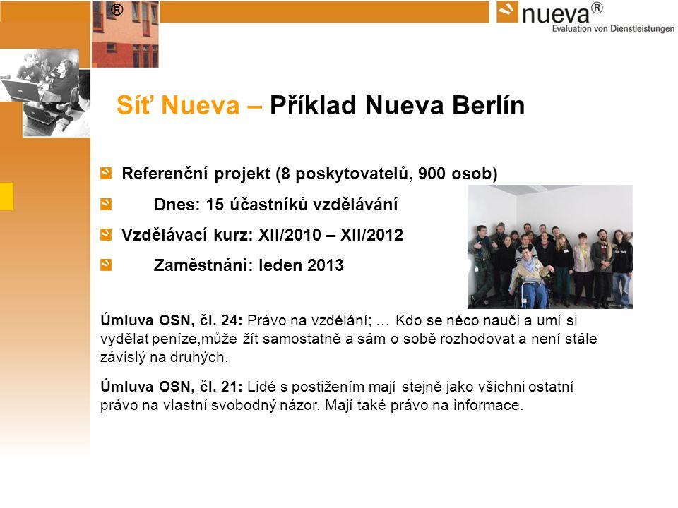 ® Síť Nueva – Příklad Nueva Berlín Referenční projekt (8 poskytovatelů, 900 osob) Dnes: 15 účastníků vzdělávání Vzdělávací kurz: XII/2010 – XII/2012 Z