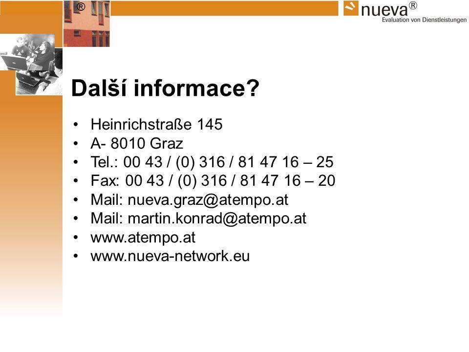 ® Další informace? Heinrichstraße 145 A- 8010 Graz Tel.: 00 43 / (0) 316 / 81 47 16 – 25 Fax: 00 43 / (0) 316 / 81 47 16 – 20 Mail: nueva.graz@atempo.