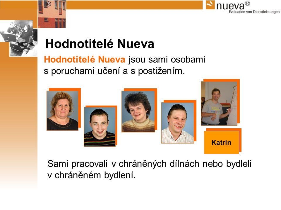 ® Hodnotitelé Nueva Hodnotitelé Nueva jsou sami osobami s poruchami učení a s postižením. Sami pracovali v chráněných dílnách nebo bydleli v chráněném
