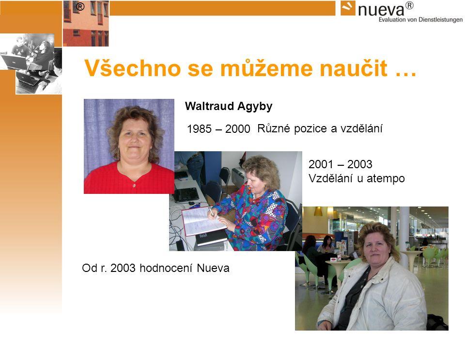 ® Všechno se můžeme naučit … Waltraud Agyby 1985 – 2000 2001 – 2003 Vzdělání u atempo Od r. 2003 hodnocení Nueva Různé pozice a vzdělání