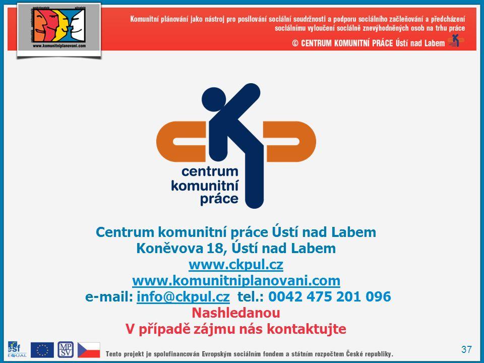 37 Centrum komunitní práce Ústí nad Labem Koněvova 18, Ústí nad Labem www.ckpul.cz www.komunitniplanovani.com e-mail: info@ckpul.cz tel.: 0042 475 201 096info@ckpul.cz Nashledanou V případě zájmu nás kontaktujte