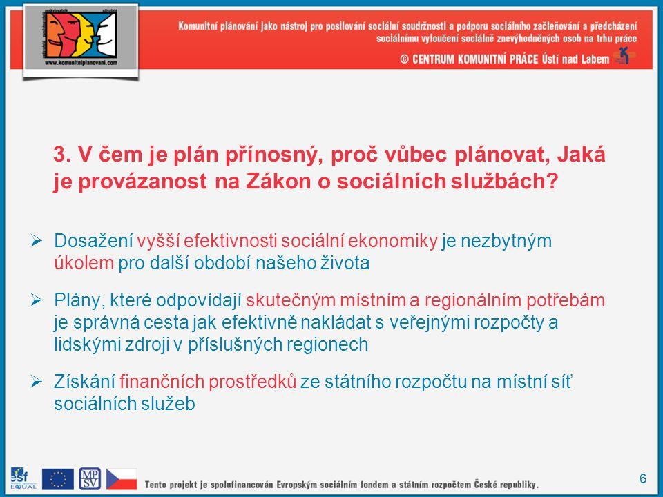 6 3. V čem je plán přínosný, proč vůbec plánovat, Jaká je provázanost na Zákon o sociálních službách?  Dosažení vyšší efektivnosti sociální ekonomiky