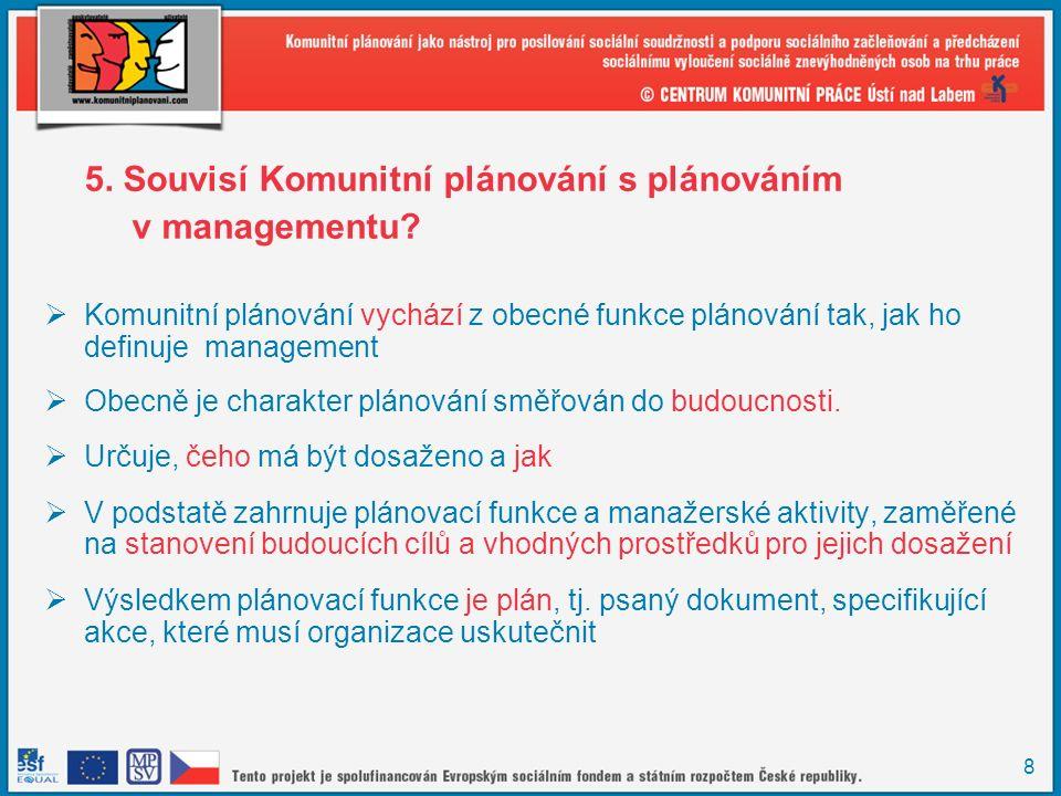 8 5.Souvisí Komunitní plánování s plánováním v managementu.