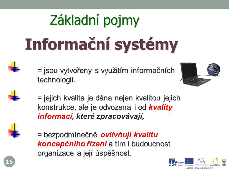 15 Informační systémy  = jsou vytvořeny s využitím informačních technologií, = jejich kvalita je dána nejen kvalitou jejich konstrukce, ale je odvozena i od = jejich kvalita je dána nejen kvalitou jejich konstrukce, ale je odvozena i od kvality informací, které zpracovávají, = bezpodmínečně a tím i budoucnost organizace a její úspěšnost.