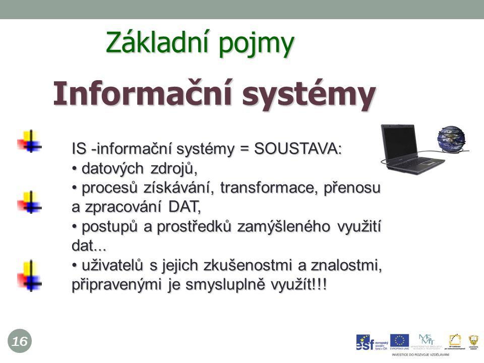 16 Informační systémy  IS -informační systémy = SOUSTAVA: datových zdrojů, datových zdrojů, procesů získávání, transformace, přenosu a zpracování DAT, procesů získávání, transformace, přenosu a zpracování DAT, postupů a prostředků zamýšleného využití dat...